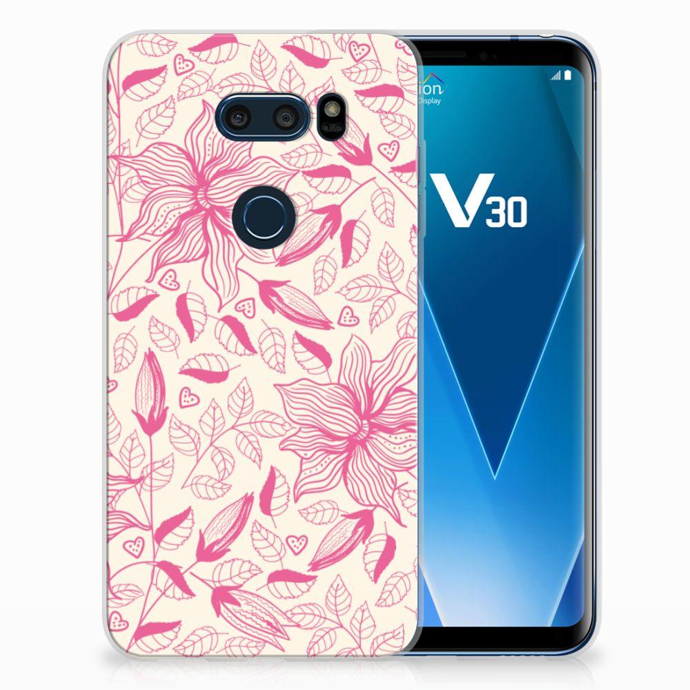 LG V30 Uniek TPU Hoesje Pink Flowers