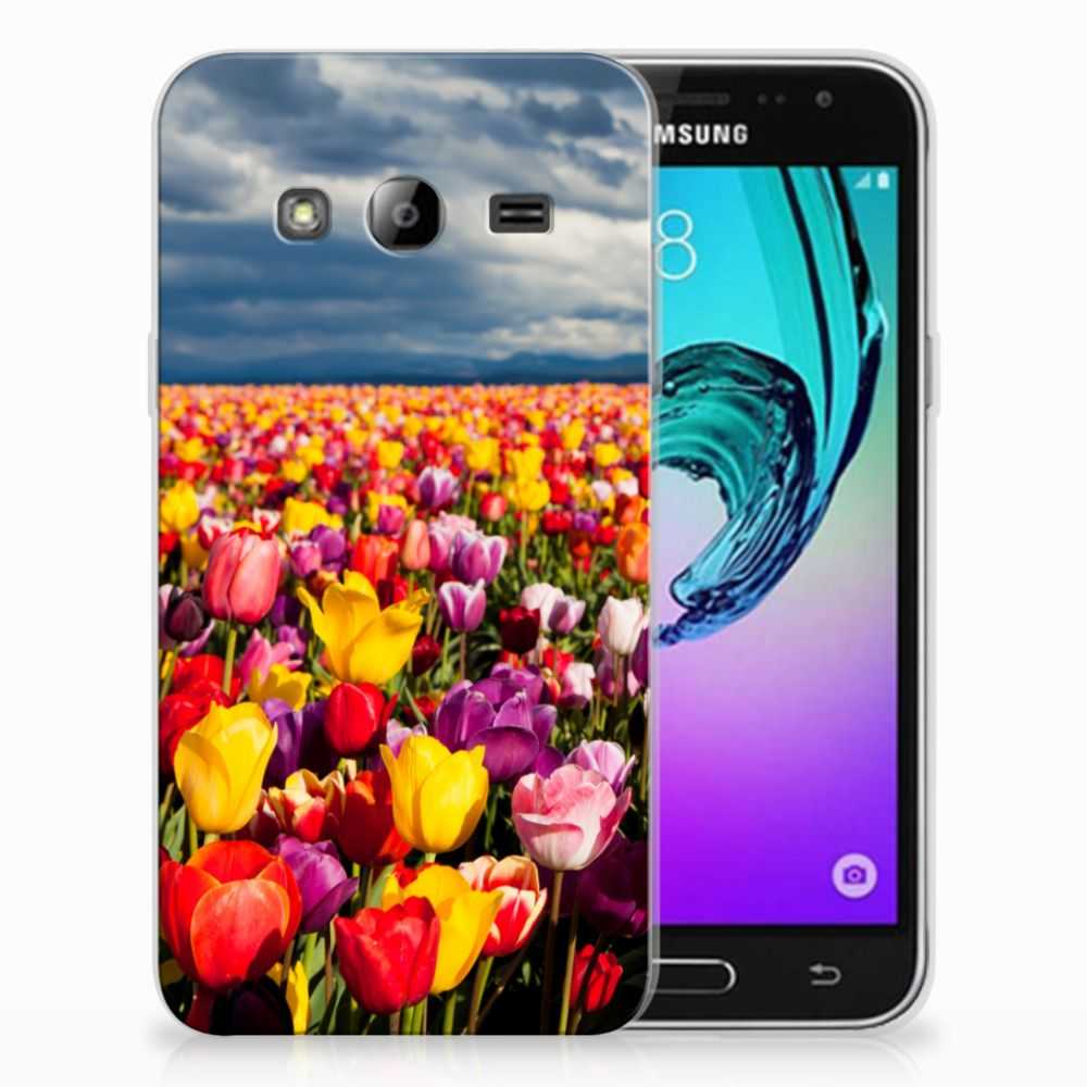 Samsung Galaxy J3 2016 Uniek TPU Hoesje Tulpen