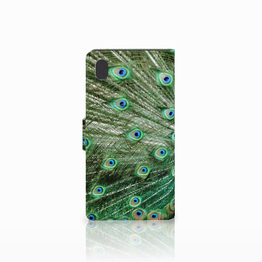 Sony Xperia M4 Aqua Telefoonhoesje met Pasjes Pauw