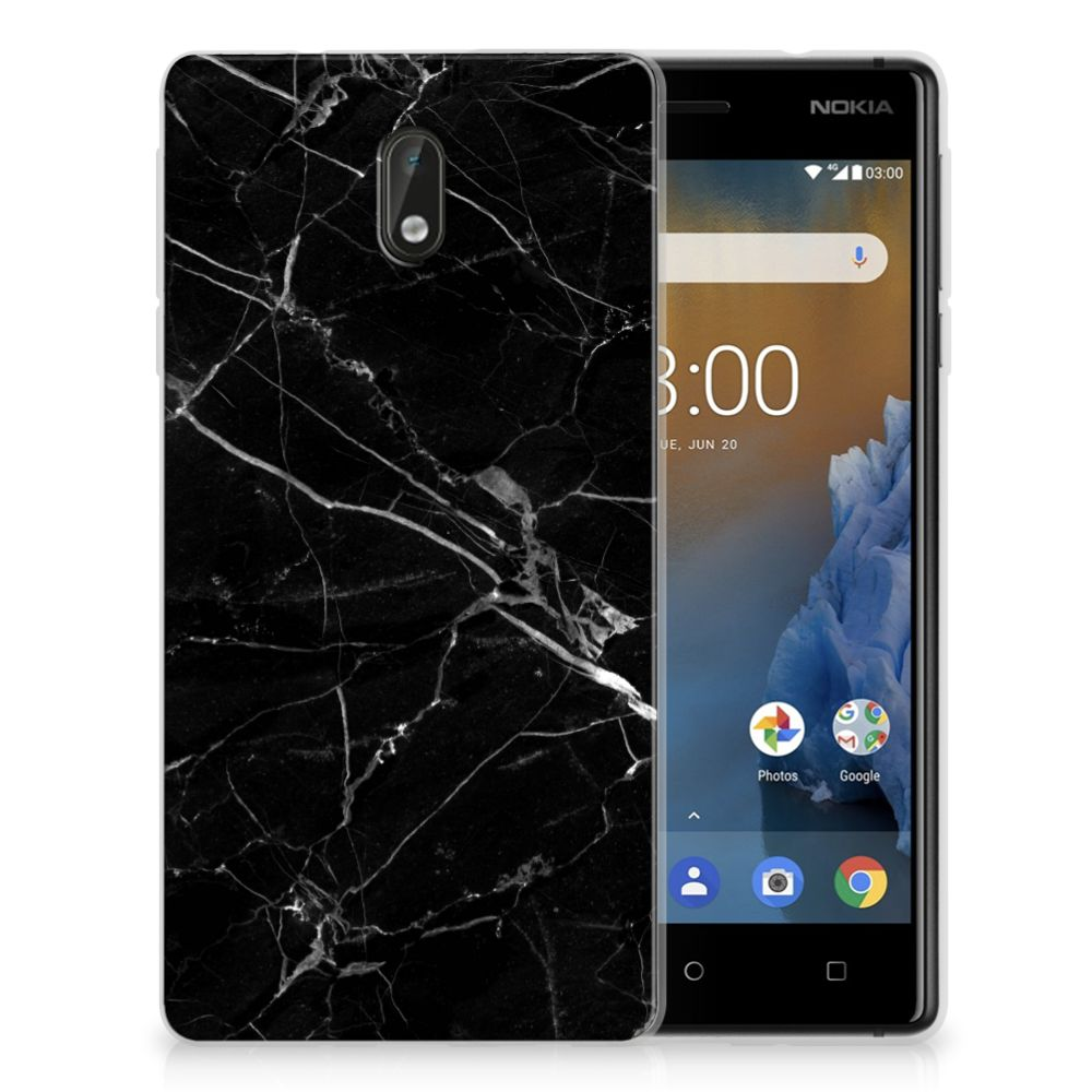 Nokia 3 TPU Siliconen Hoesje Marmer Zwart - Origineel Cadeau Vader