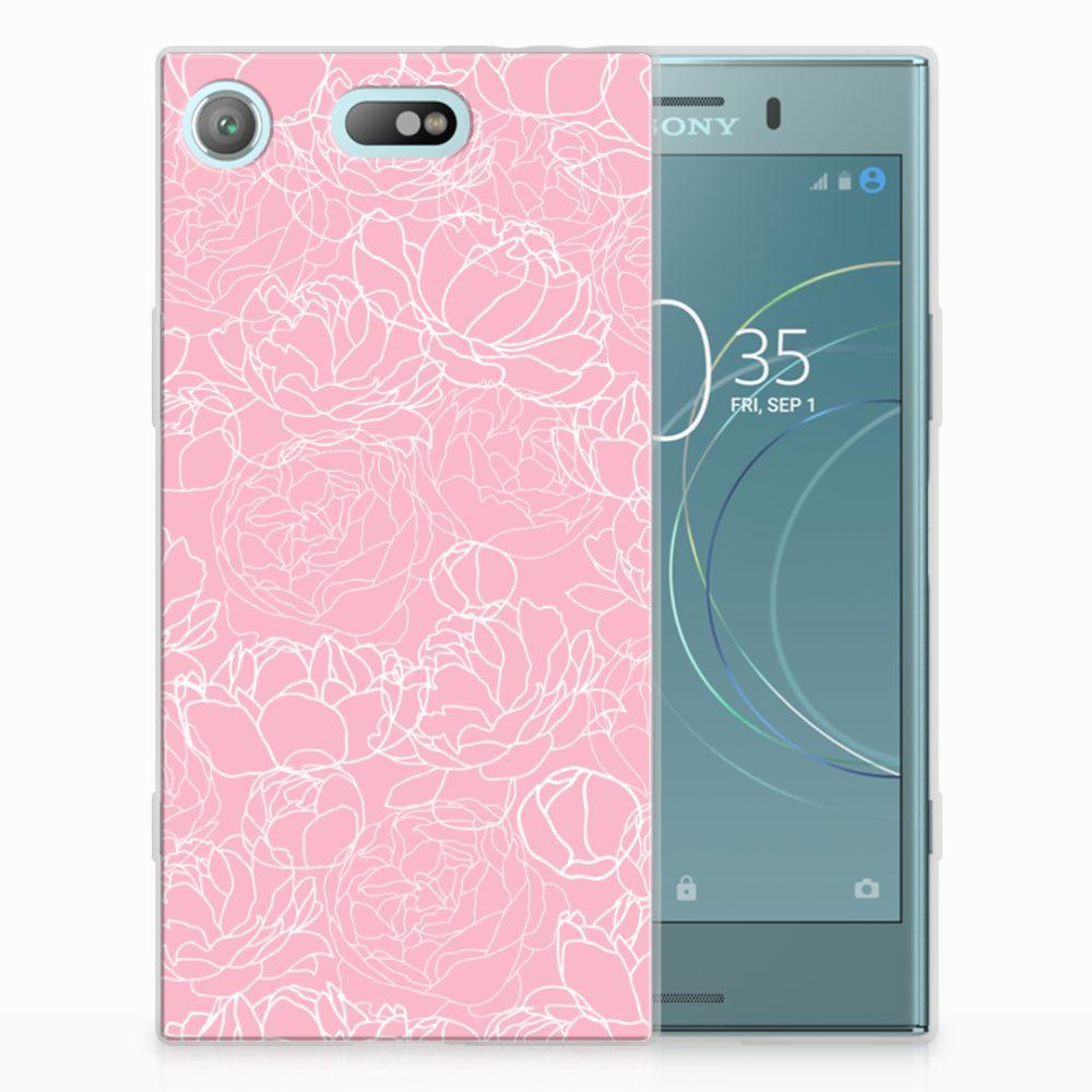 Sony Xperia XZ1 Compact TPU Hoesje Design White Flowers