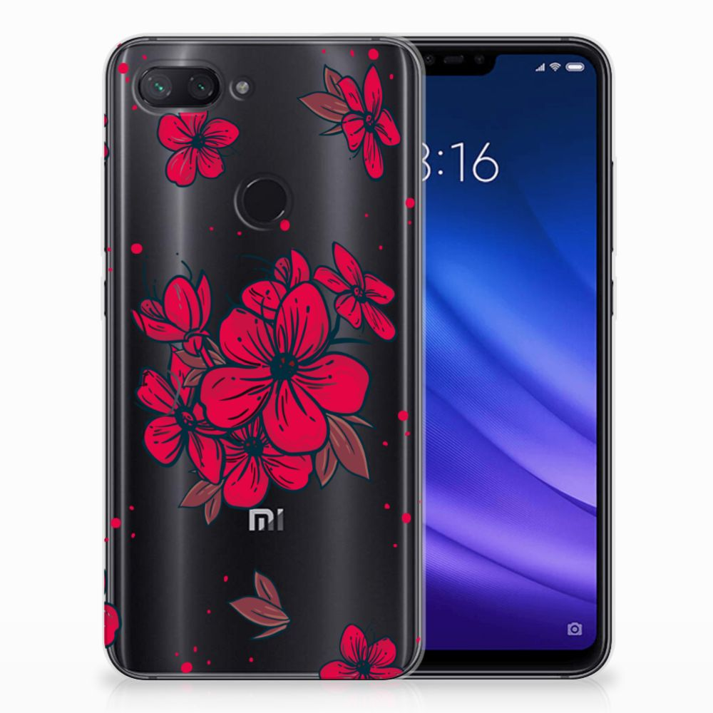 Xiaomi Mi 8 Lite TPU Hoesje Design Blossom Red