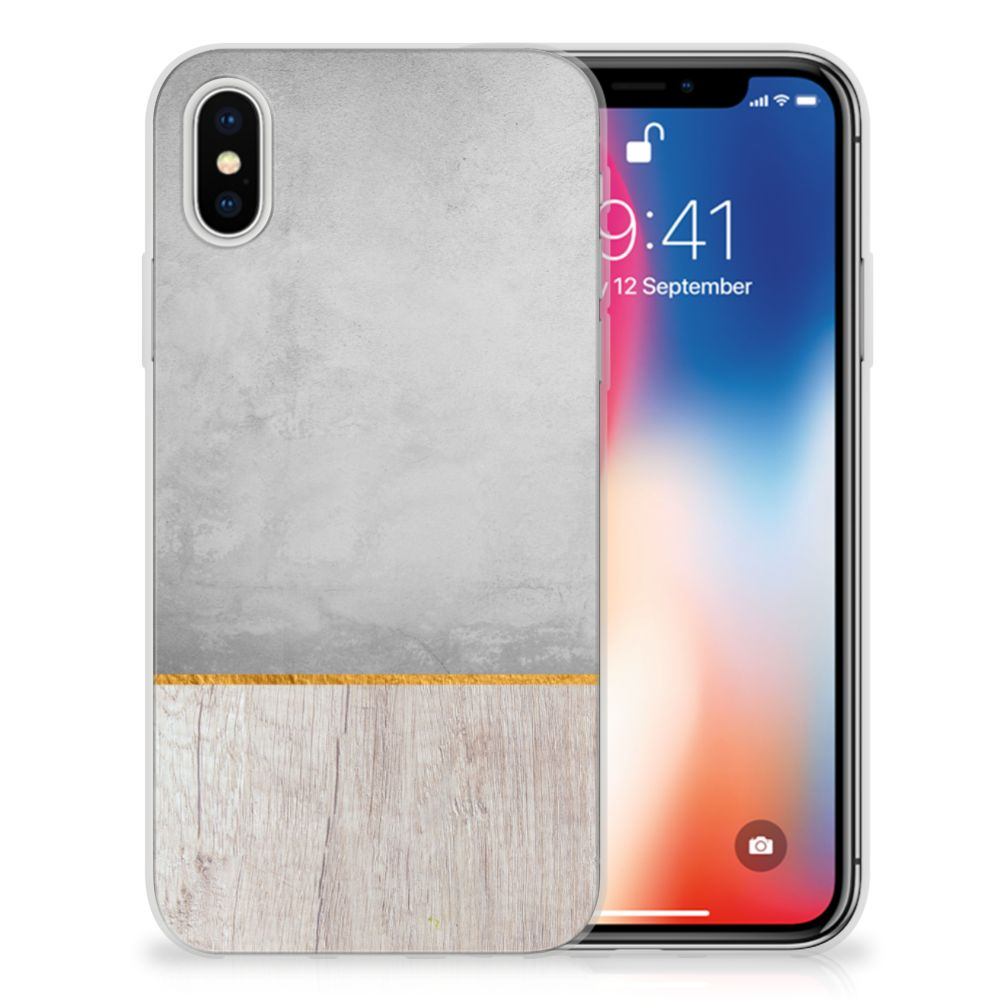 Apple iPhone X | Xs Uniek TPU Hoesje Wood Concrete