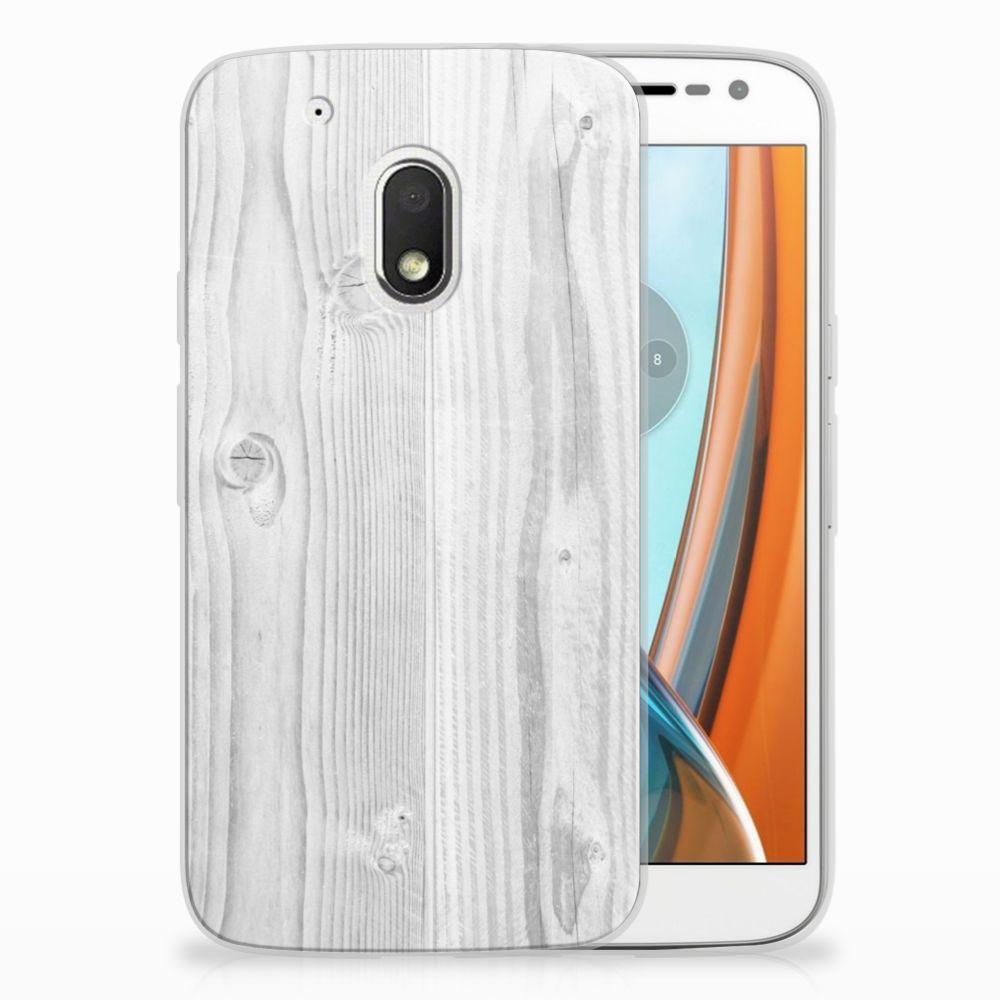 Motorola Moto G4 Play TPU Hoesje Design White Wood