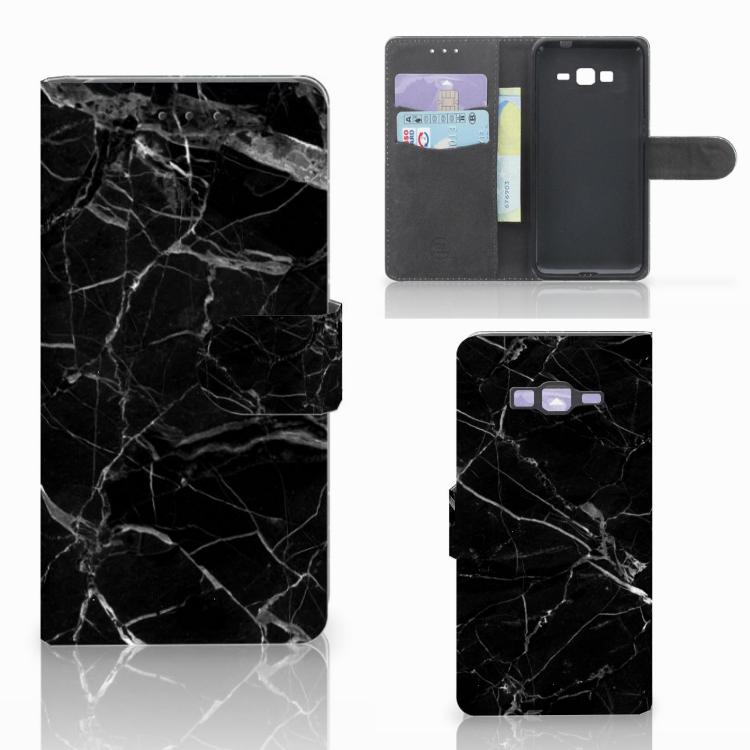 Samsung Galaxy Grand Prime | Grand Prime VE G531F Bookcase Marmer Zwart - Origineel Cadeau Vader