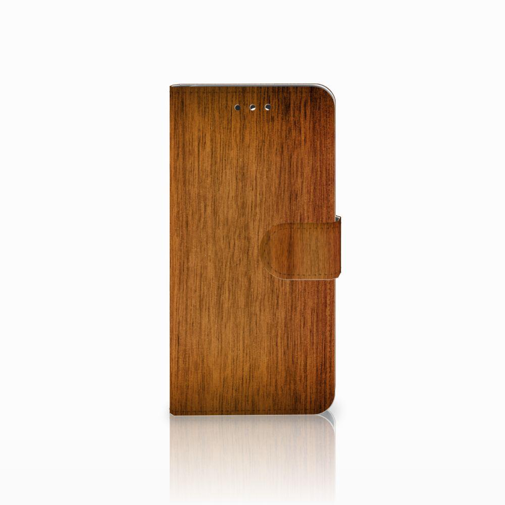 LG G7 Thinq Uniek Boekhoesje Donker Hout