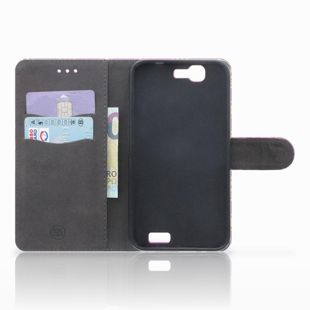 Wallet Case Huawei Ascend G7 Barok Roze
