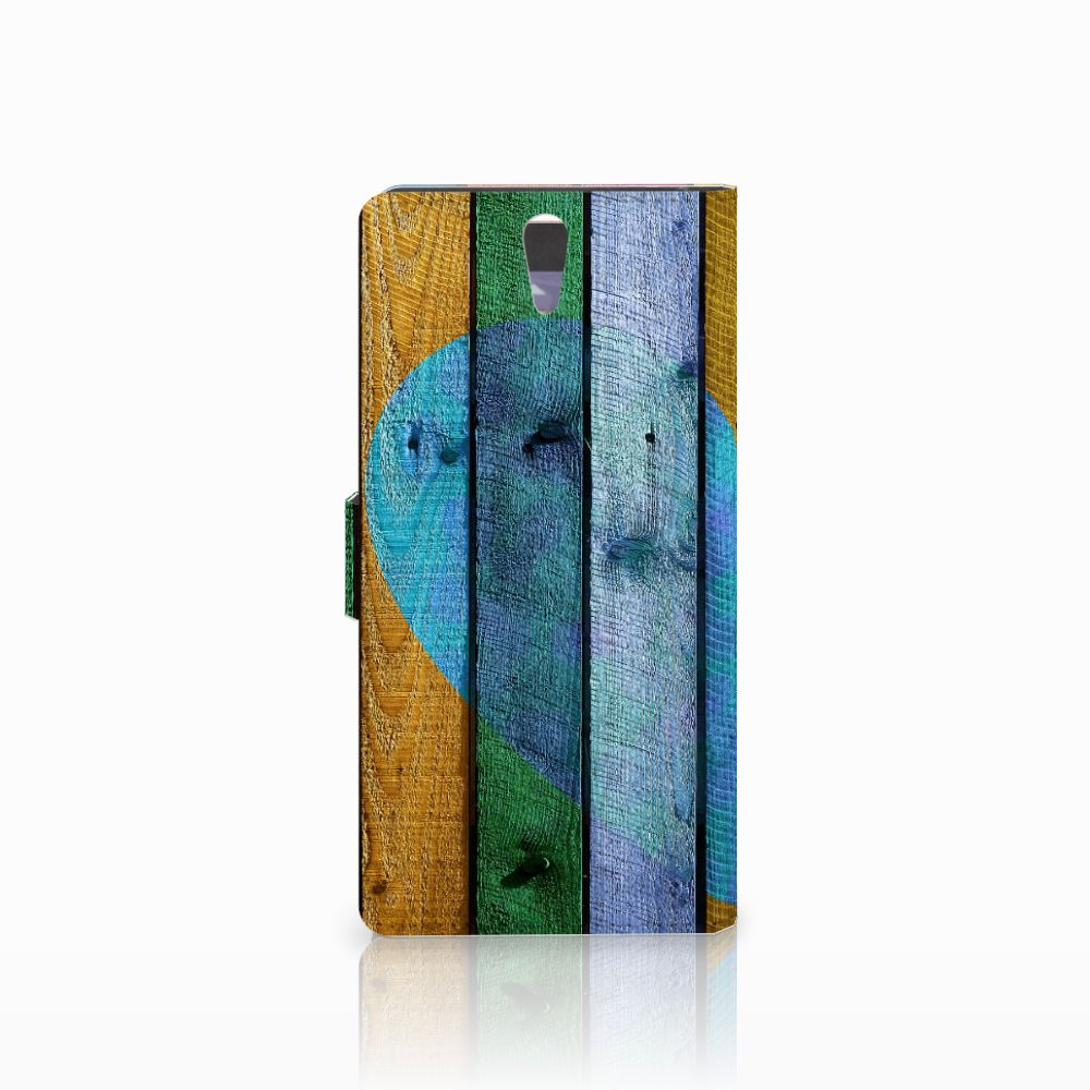 Sony Xperia C5 Ultra Book Style Case Wood Heart