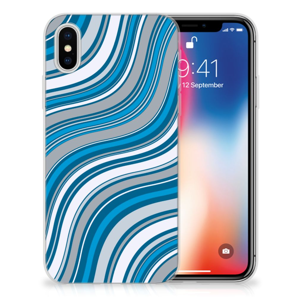 Apple iPhone X | Xs TPU Hoesje Design Waves Blue