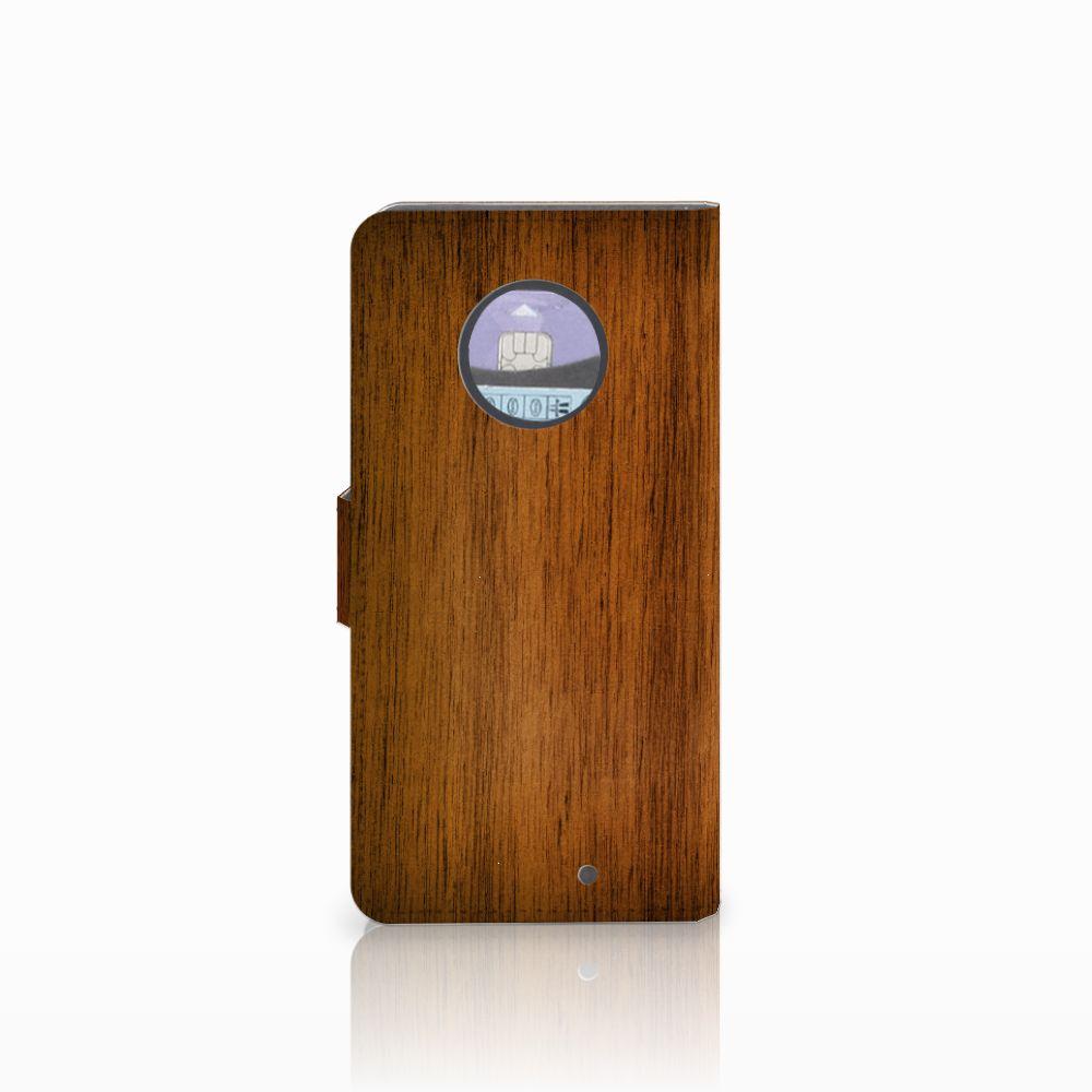 Motorola Moto X4 Book Style Case Donker Hout