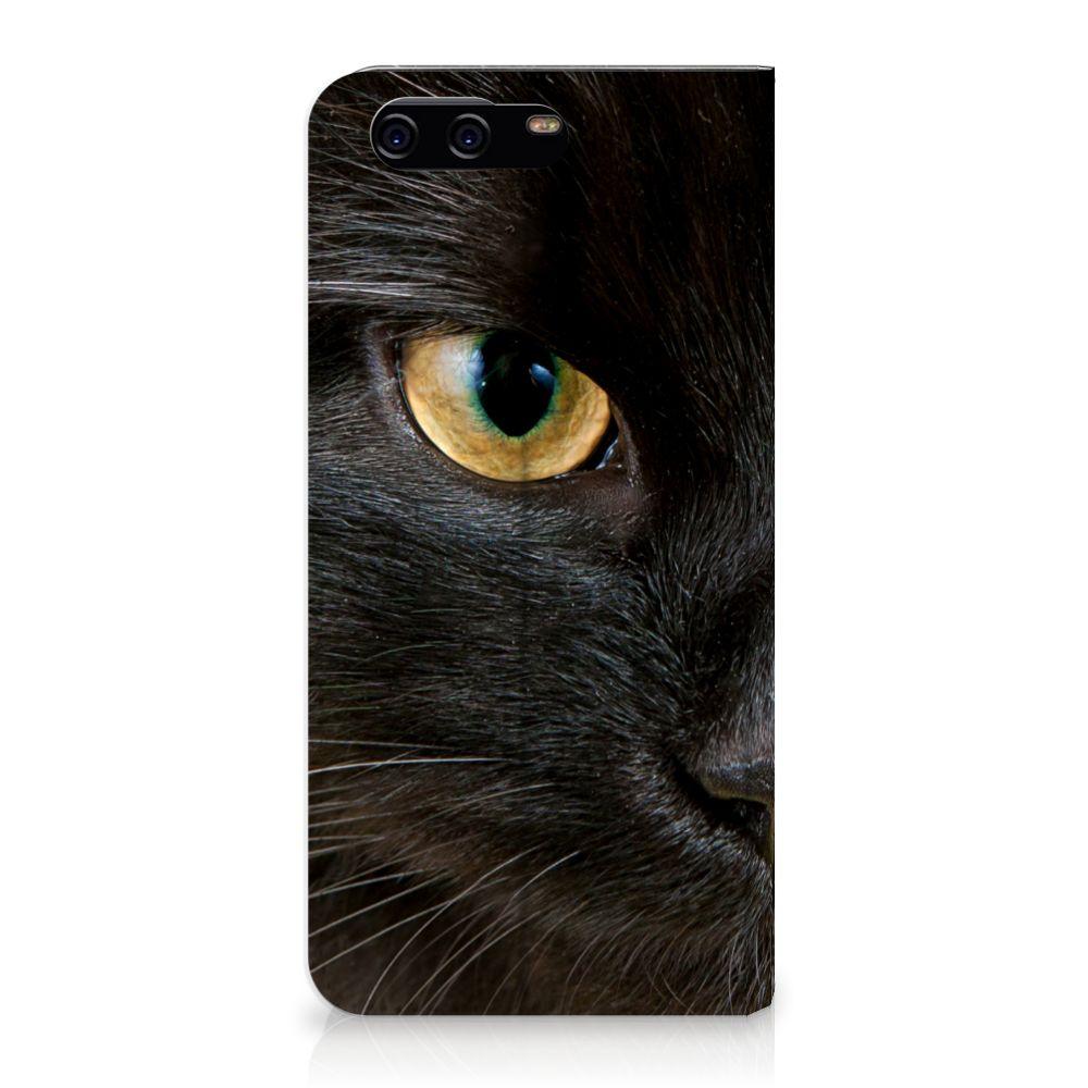 Huawei P10 Uniek Standcase Hoesje Zwarte Kat