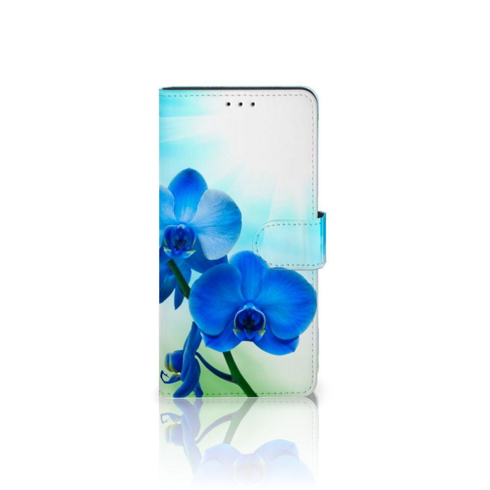 Samsung Galaxy A7 (2018) Boekhoesje Design Orchidee Blauw