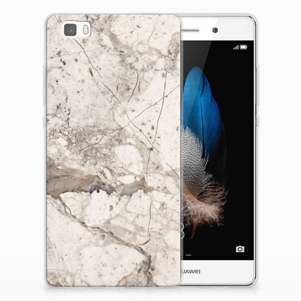 Huawei Ascend P8 Lite TPU Siliconen Hoesje Marmer Beige