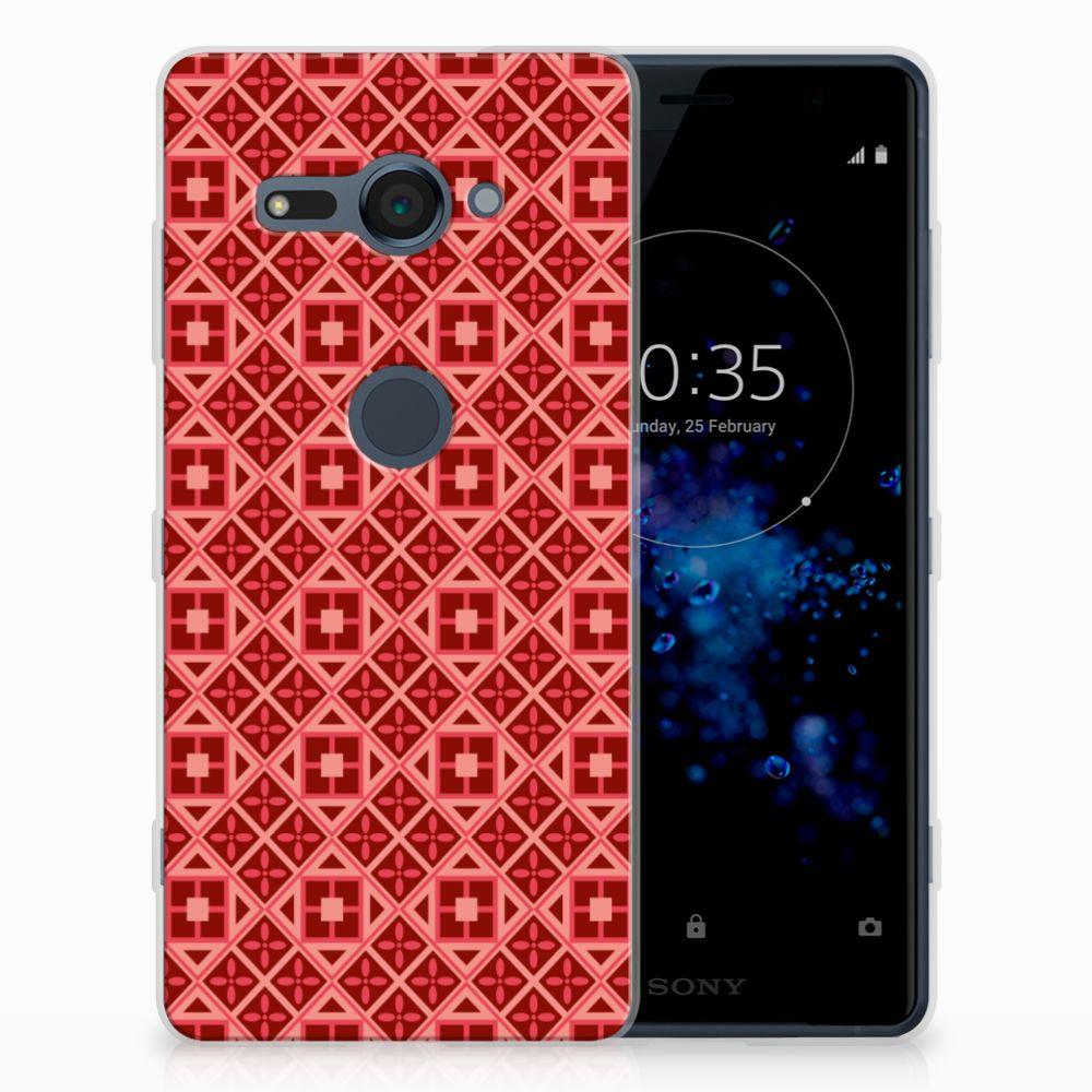 Sony Xperia XZ2 Compact Uniek TPU Hoesje Batik Red