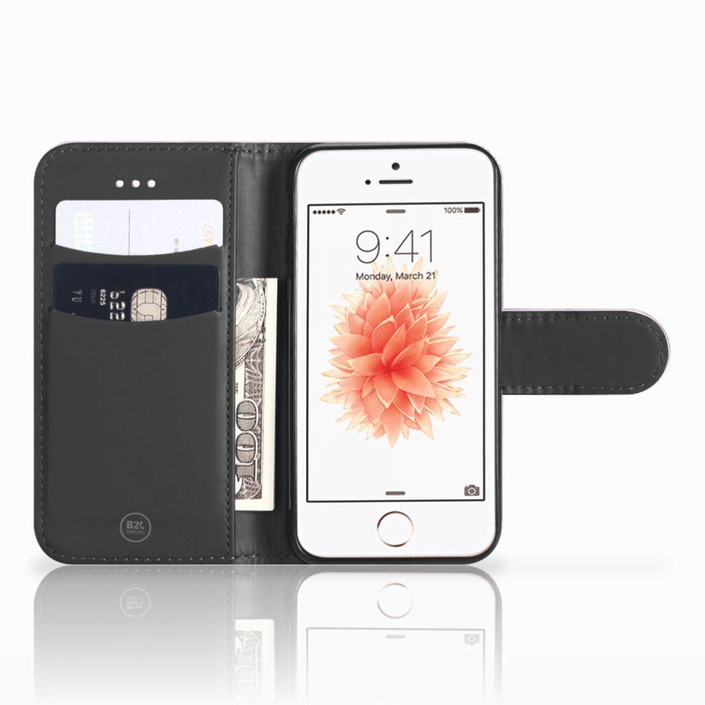 Apple iPhone 5 | 5s | SE Boekhoesje Design Pink Purple Paint