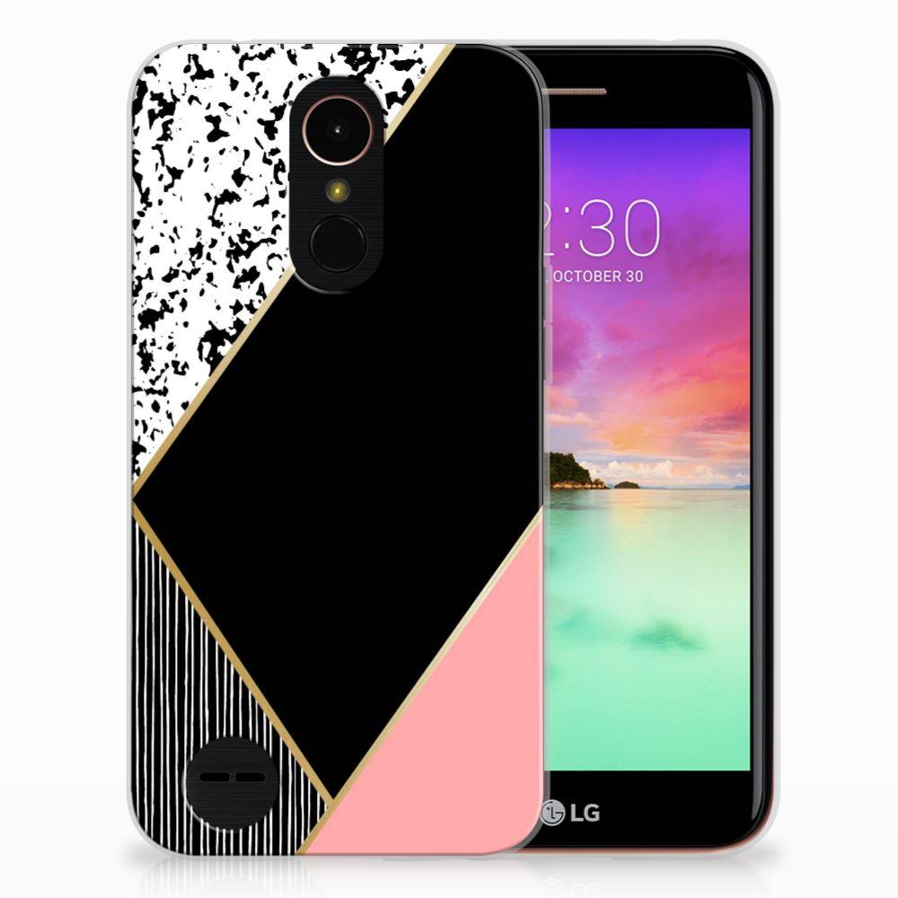 LG K10 2017 Uniek TPU Hoesje Black Pink Shapes