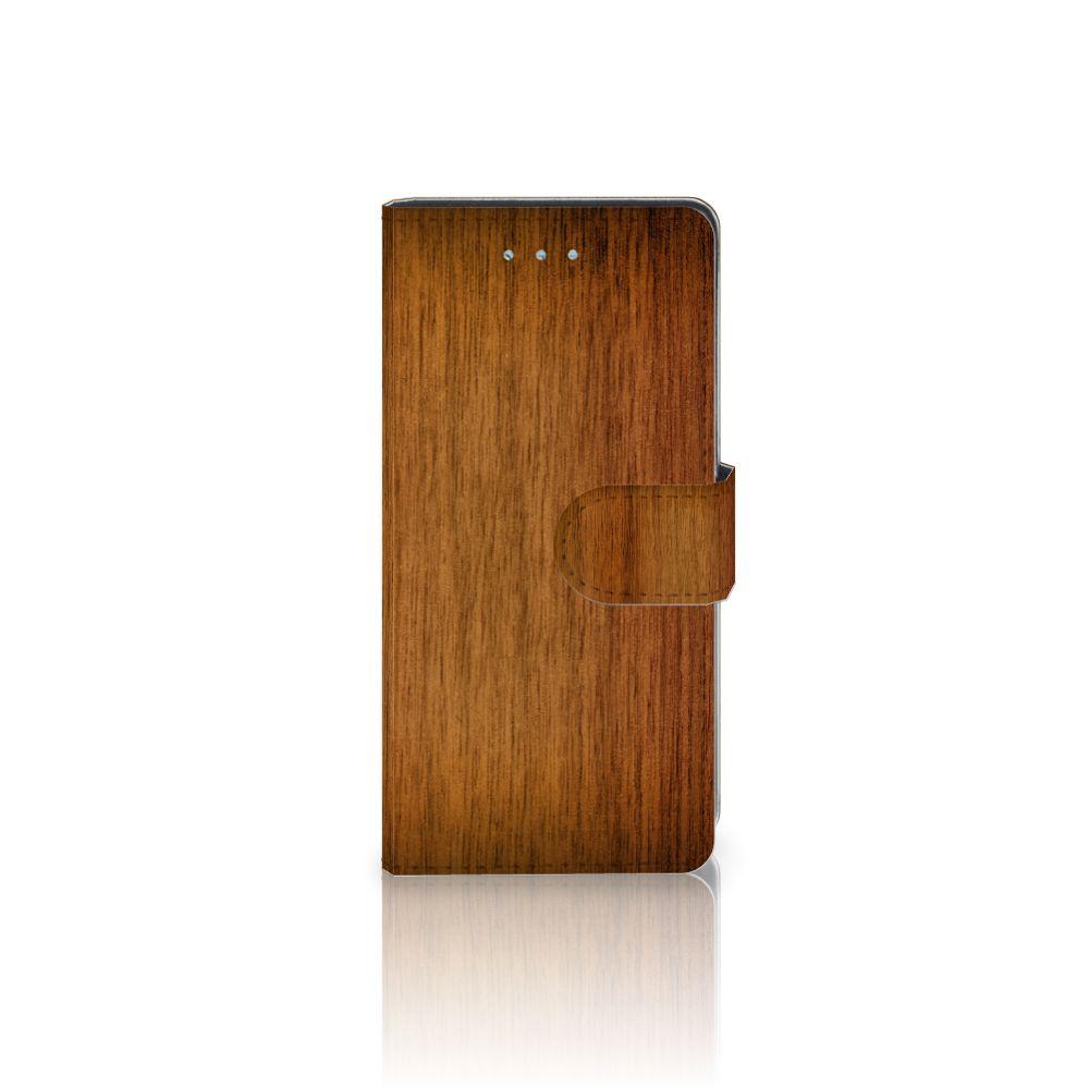 Huawei P9 Lite Uniek Boekhoesje Donker Hout