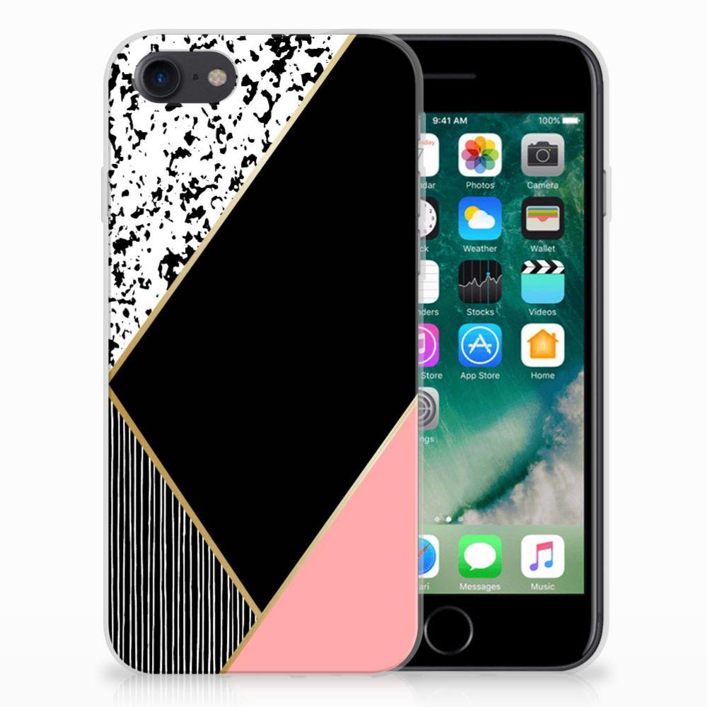 iPhone SE (2020) | 7/8 TPU Hoesje Zwart Roze Vormen
