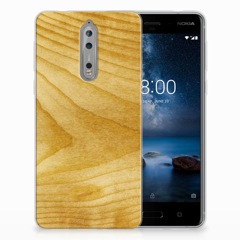 Nokia 8 Uniek TPU Hoesje Licht Hout