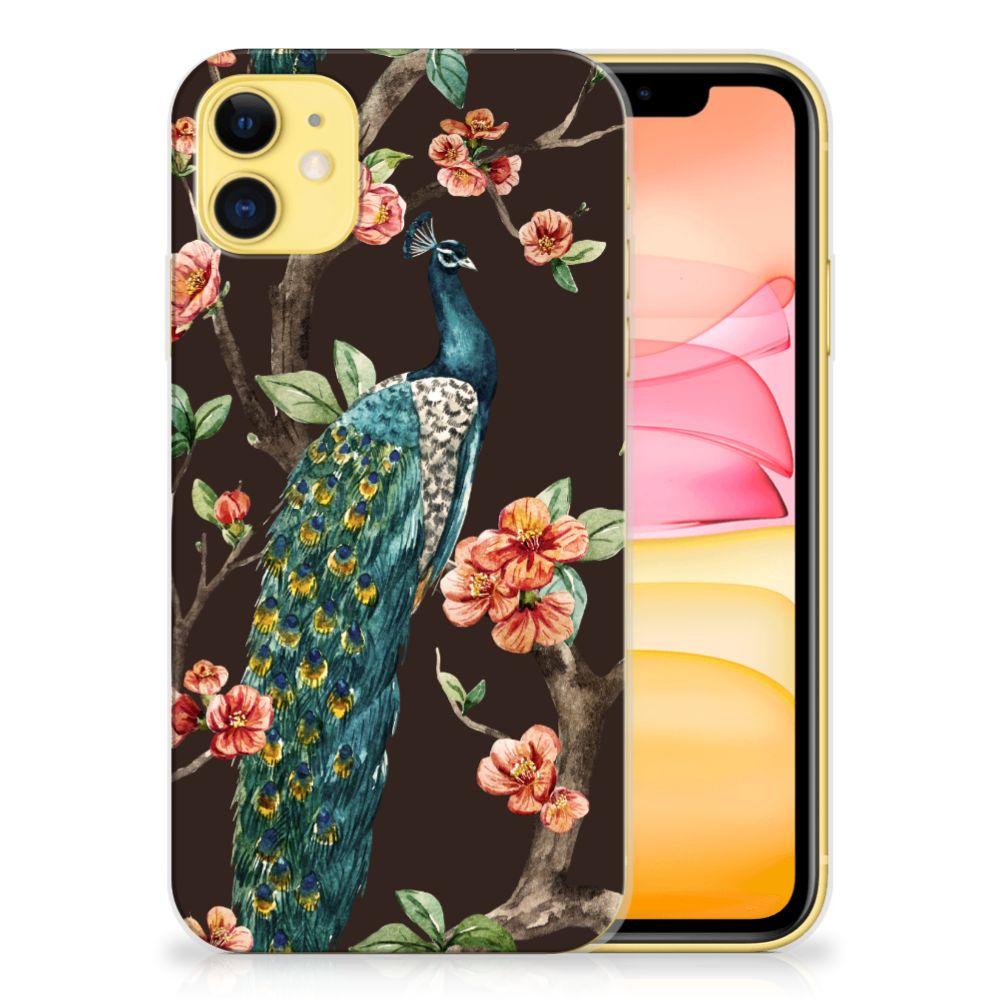 Apple iPhone 11 TPU Hoesje Pauw met Bloemen