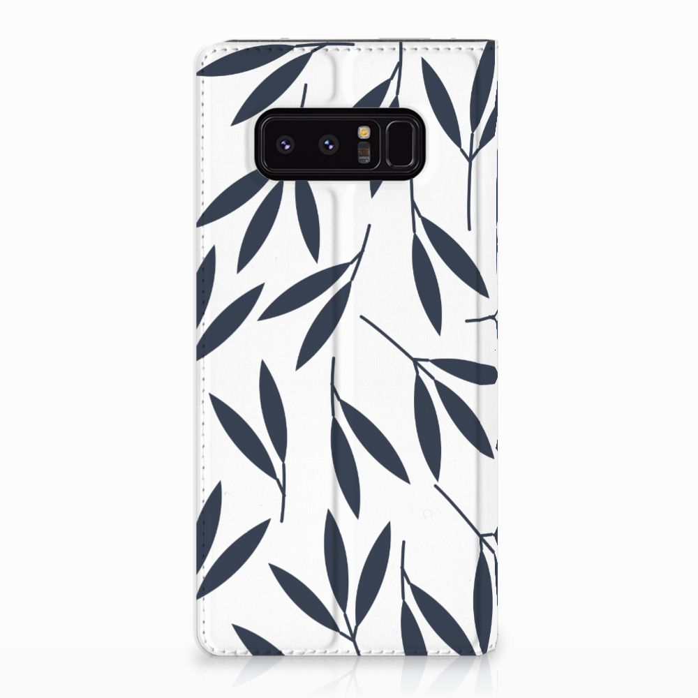 Samsung Galaxy Note 8 Standcase Hoesje Design Leaves Blue