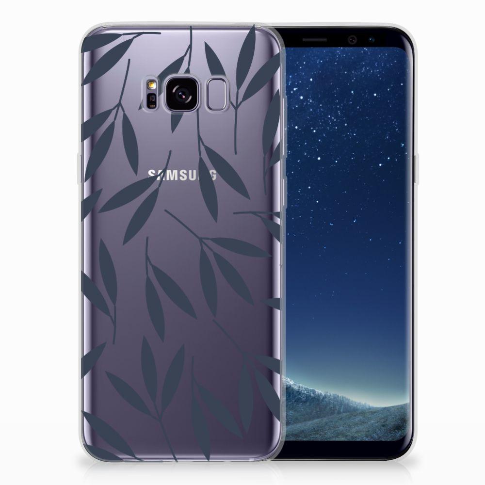 Samsung Galaxy S8 Plus TPU Hoesje Design Leaves Blue