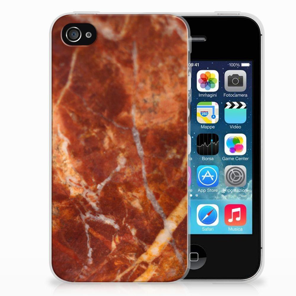 Apple iPhone 4   4s TPU Siliconen Hoesje Marmer Bruin