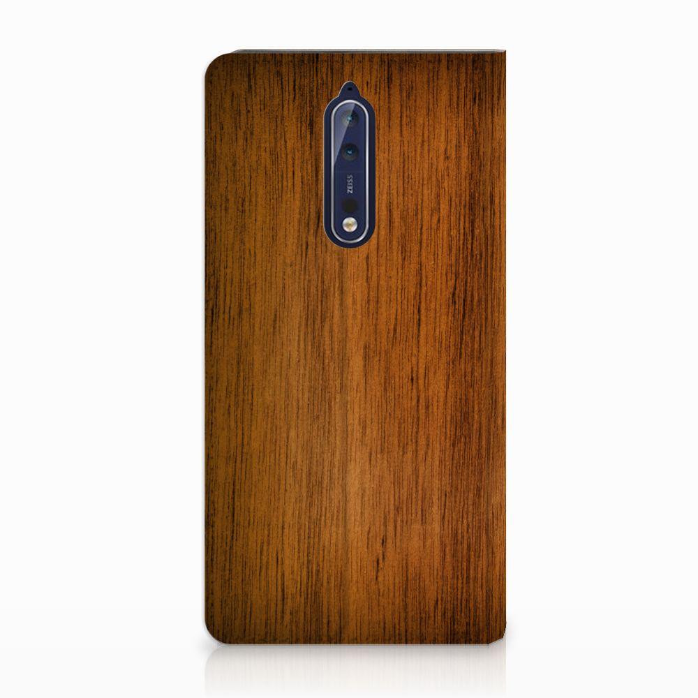 Nokia 8 Uniek Standcase Hoesje Donker Hout
