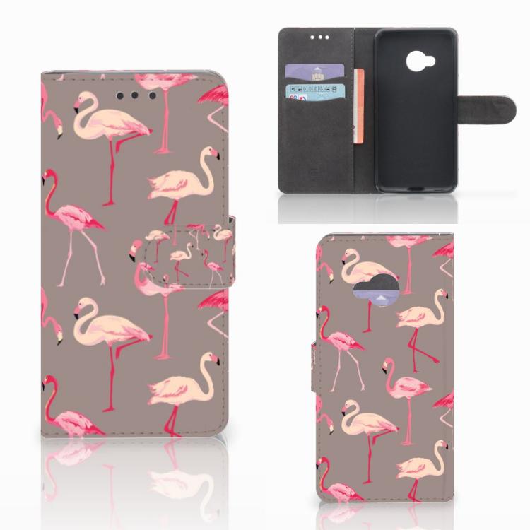 HTC U Play Telefoonhoesje met Pasjes Flamingo