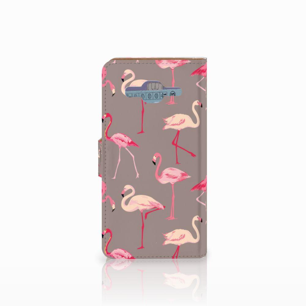 Samsung Galaxy J2 2016 Telefoonhoesje met Pasjes Flamingo