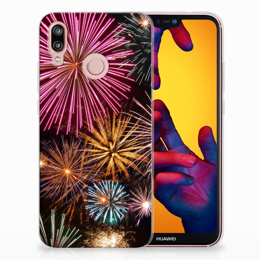 Huawei P20 Lite TPU Hoesje Design Vuurwerk