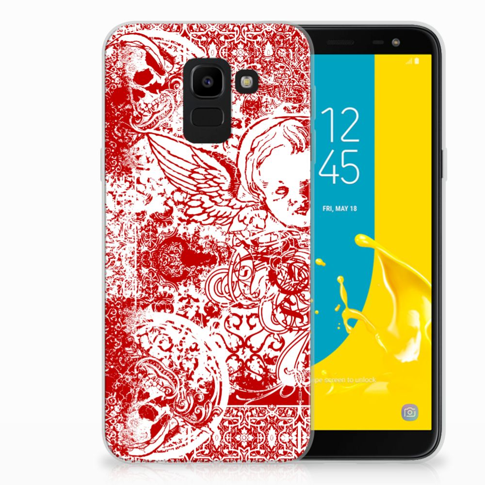 Samsung Galaxy J6 2018 TPU Hoesje Design Angel Skull Red