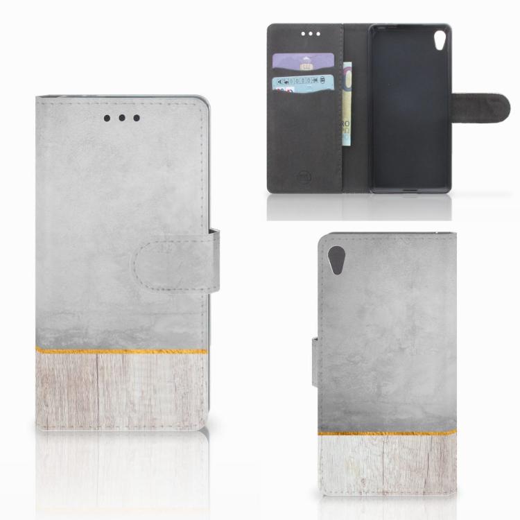 Sony Xperia E5 Book Style Case Wood Concrete