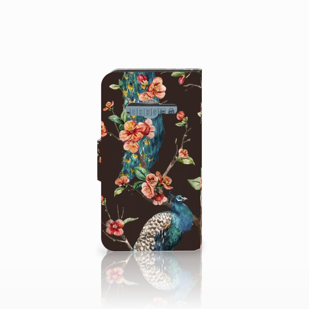 Samsung Galaxy Trend 2 Telefoonhoesje met Pasjes Pauw met Bloemen