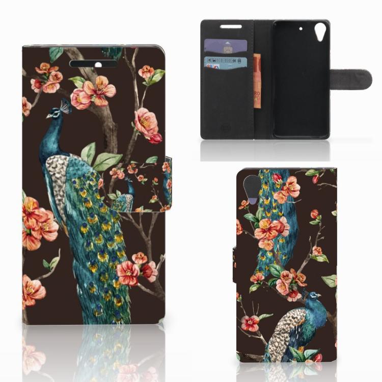 HTC Desire 628 Telefoonhoesje met Pasjes Pauw met Bloemen