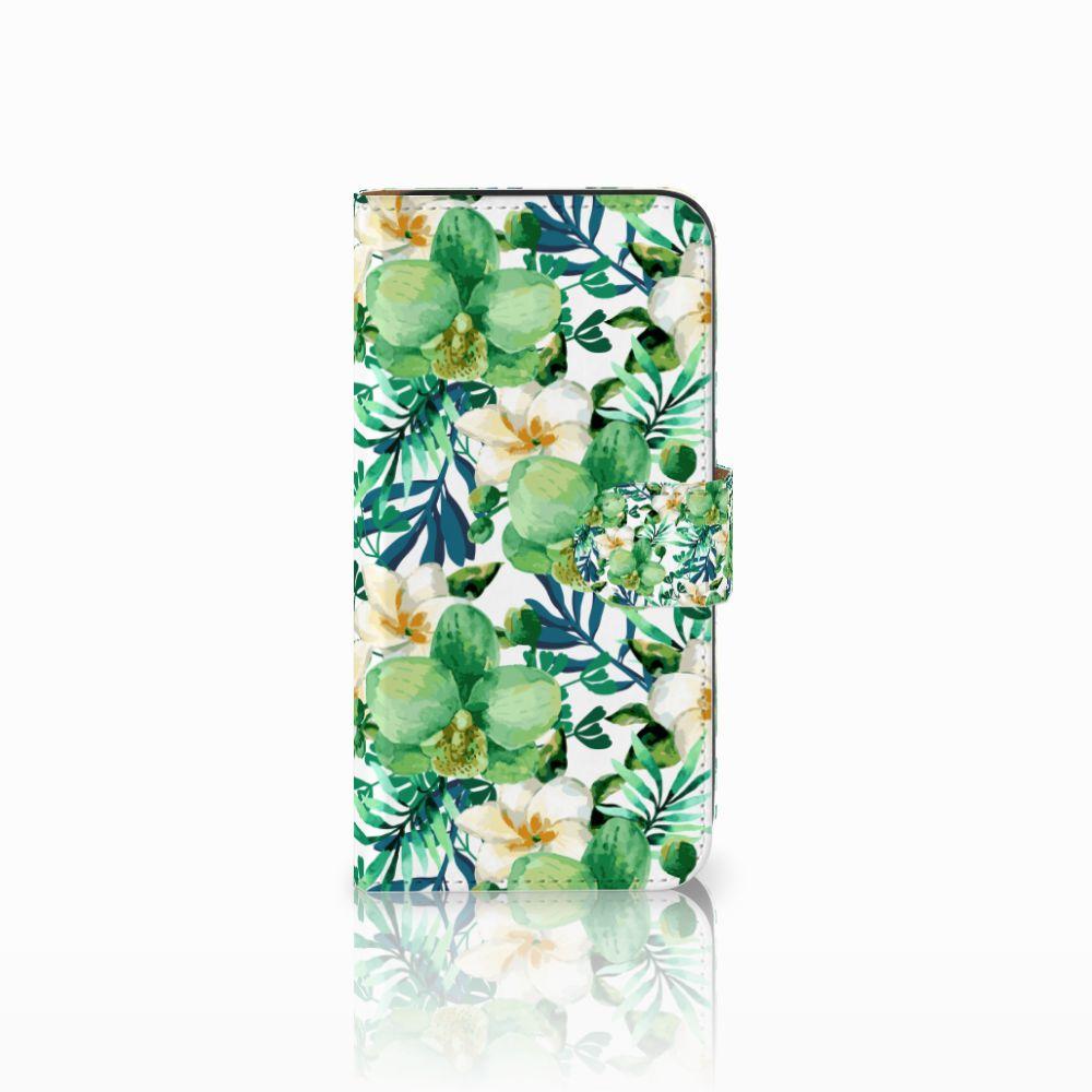 Samsung Galaxy E5 Uniek Boekhoesje Orchidee Groen