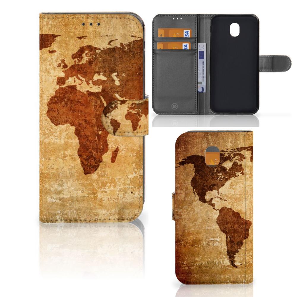 Samsung Galaxy J5 2017 Flip Cover Wereldkaart