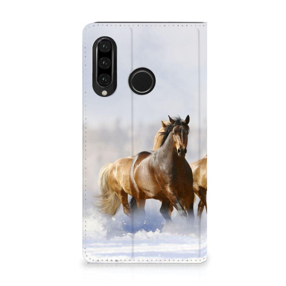 Huawei P30 Lite Uniek Standcase Hoesje Paarden