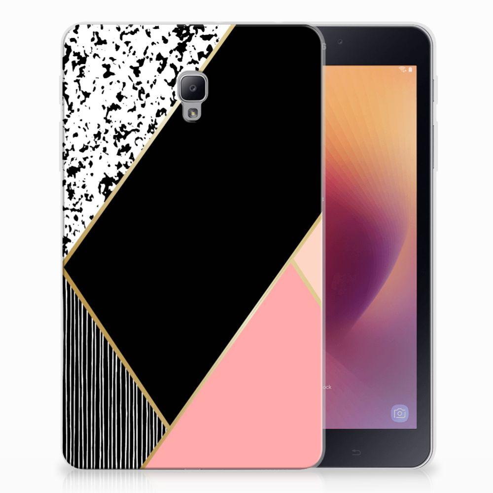Samsung Galaxy Tab A 8.0 (2017) Back Cover Zwart Roze Vormen