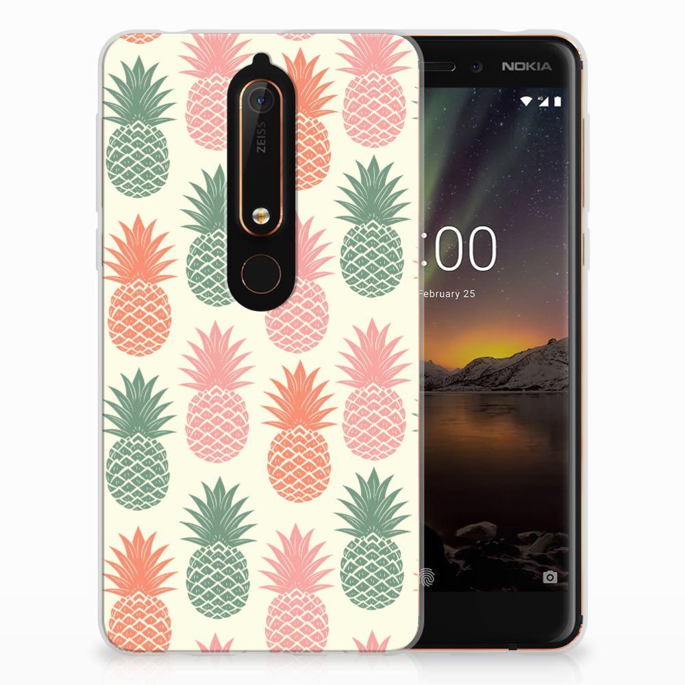 Nokia 6 (2018) Siliconen Case Ananas