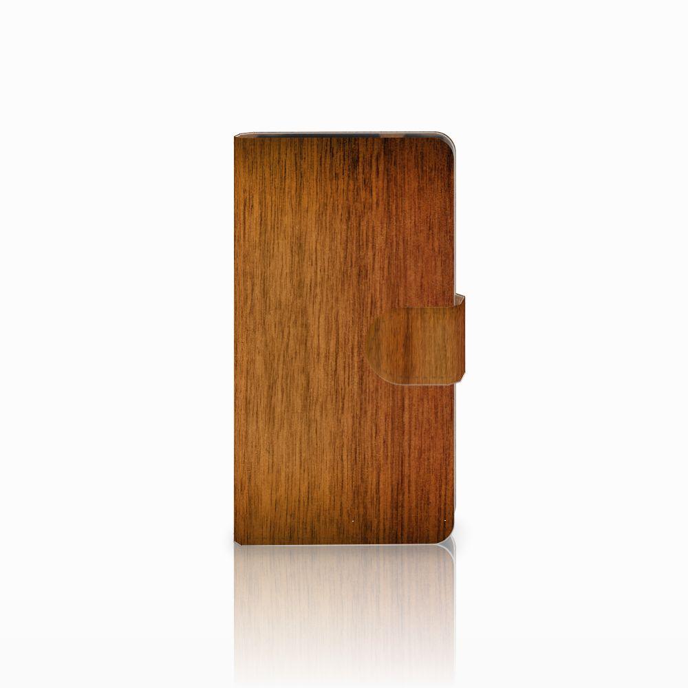 HTC Desire 601 Uniek Boekhoesje Donker Hout