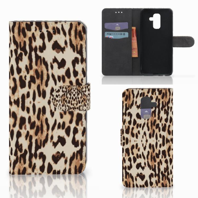 Samsung Galaxy A6 Plus 2018 Telefoonhoesje met Pasjes Leopard