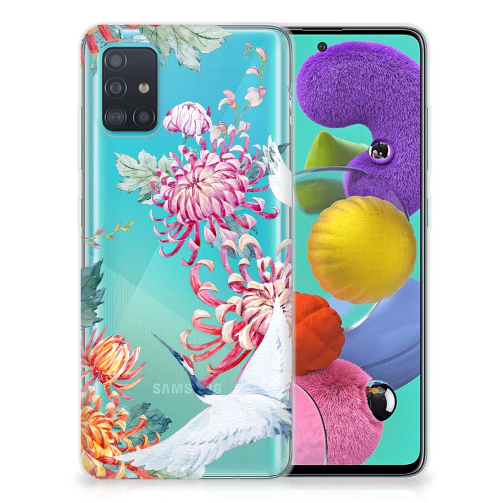 Samsung Galaxy A51 TPU Hoesje Bird Flowers