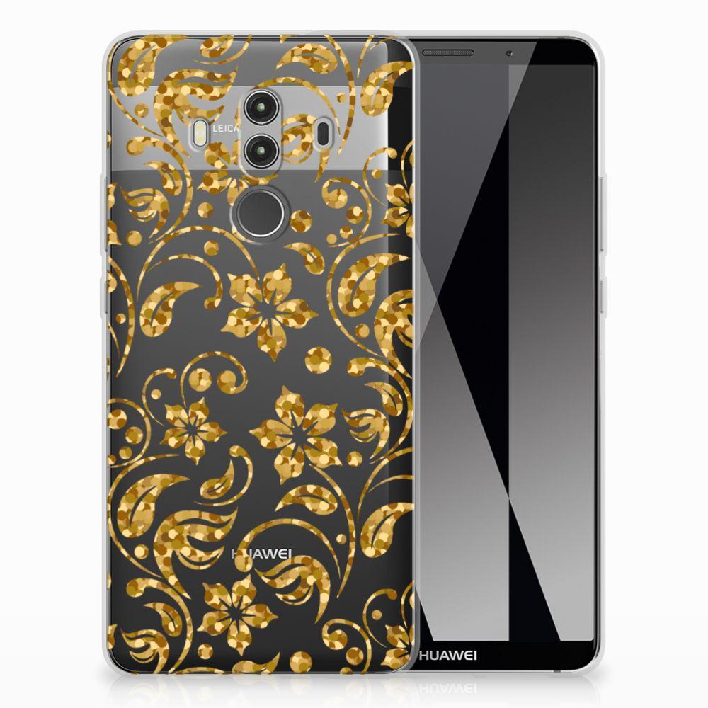 Huawei Mate 10 Pro TPU Hoesje Design Gouden Bloemen