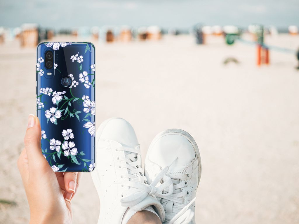 Motorola One Vision Uniek TPU Case Blossom White