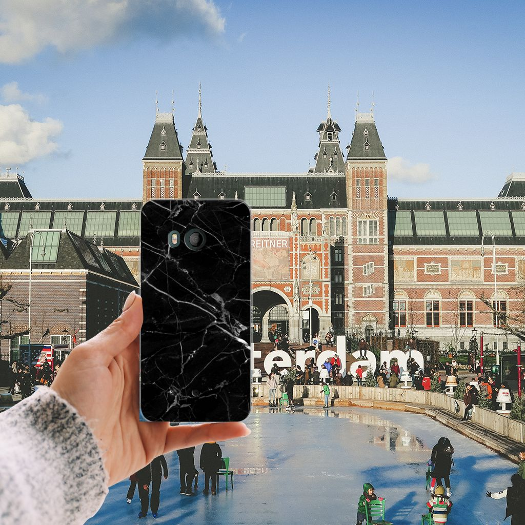 HTC U11 TPU Siliconen Hoesje Marmer Zwart - Origineel Cadeau Vader