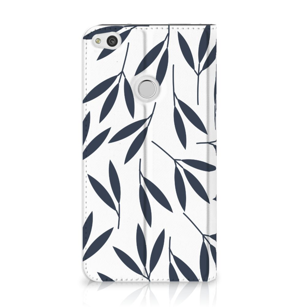 Huawei P8 Lite 2017 Standcase Hoesje Design Leaves Blue