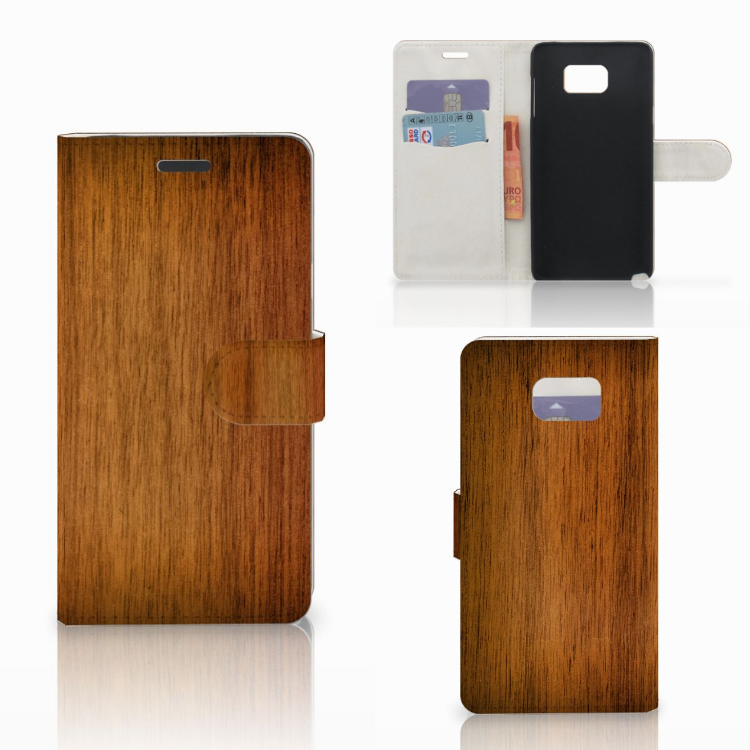 Samsung Galaxy Note 5 Book Style Case Donker Hout