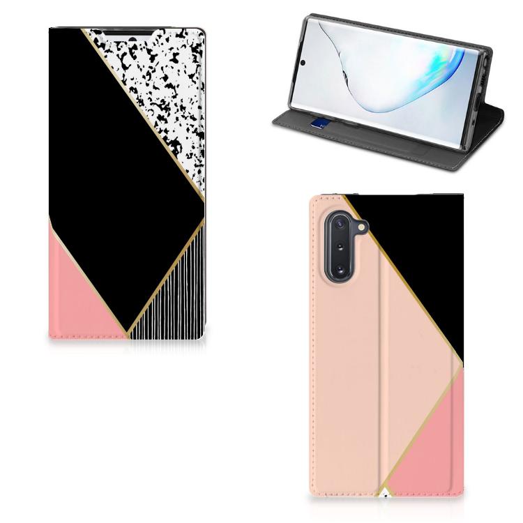 Samsung Galaxy Note 10 Stand Case Zwart Roze Vormen