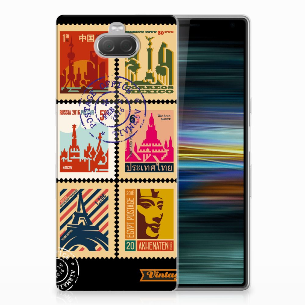 Sony Xperia 10 Plus Siliconen Back Cover Postzegels